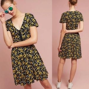 Anthropologie Maeve Black Yellow Floral Dress